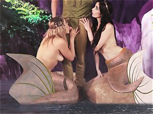 steaming mermaid 3some with Aiden Ashley and Mia Malkova