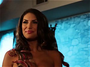 August Ames and Lily Cade string on bed fuck-a-thon
