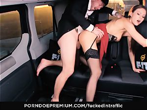 pummeled IN TRAFFIC - Footjob and car fuck-a-thon with Tina Kay