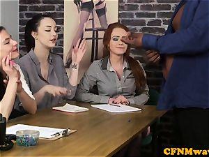 audition CFNM woman agent tugging black manhood