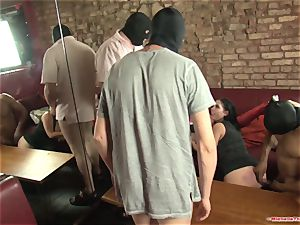 Michelle Thorne and young breezy gang-bang plumb with gang