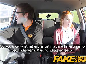 faux Driving college adorable red-haired Ella Hughes romps