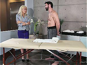 Married blond sweetie getting ultra-kinky by a bulky masseur