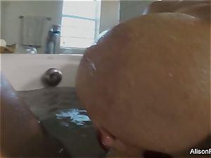 big-boobed Alison Tyler takes a bath