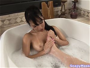 Asa Akira kneading herself all over a rock-hard fuckpole