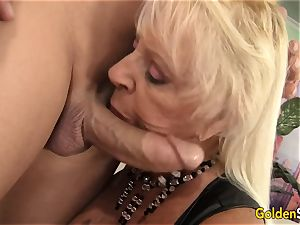 Floppy boobed grandmother tears up a shaved man