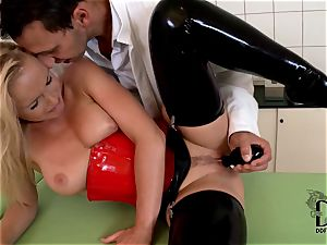 tough platinum-blonde in spandex dildoed by the medic