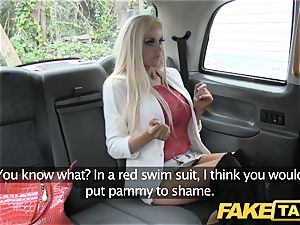 fake cab lean platinum-blonde with petite culo gets anal bang-out