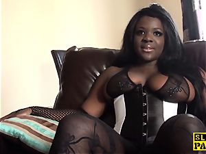 ebony big-boobed brit bum-fucked and dominated