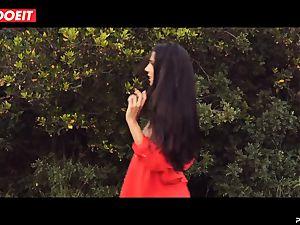 LETSDOEIT - insane dark haired Caught Running in the forest