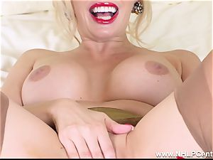 blonde mummy finger romps cooch in antique girdle nylons
