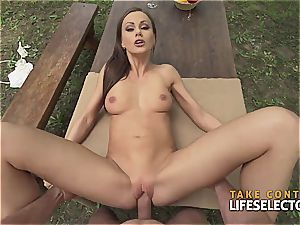 incredibly fit dark haired hottie luvs to get super-naughty in public