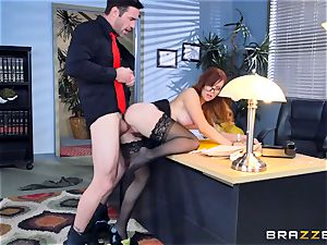 Dani Jensen toying with boner in the office