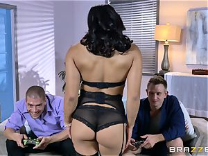 asian Mia Li drool roasted by two rock-hard spears