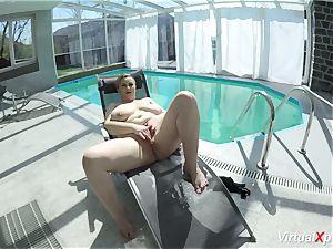 massive hooter cougar wanking at the pool