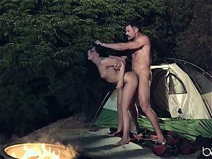 teen bi-atch enjoys camping and outdoor smashing