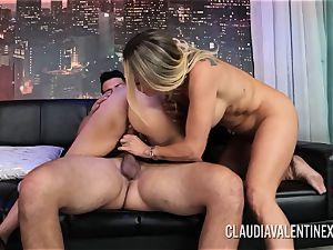 Claudia Valentine joins a duo for a three-way