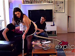 edible French maid gets her tight bung tucked in double penetration
