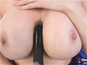 big-boobed Michelle B fake penis boning