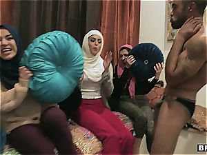 trio youthful muslim honeys are getting a tiny too nosey about pipe