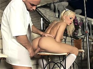 platinum-blonde maid banging in white pantyhose and heels