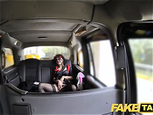 faux cab nymph in mask gets screwed in the ass