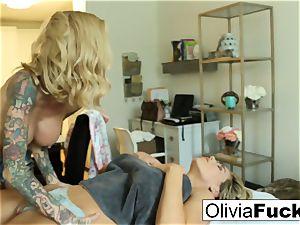 Olivia Austin gets poked by Sarah Jessie
