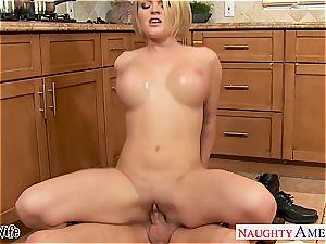 chesty wifey Krissy Lynn slurping jism in the kitchen