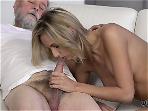 OLD4K. cutie takes part in spunky lovemaking with magnificent aged parent