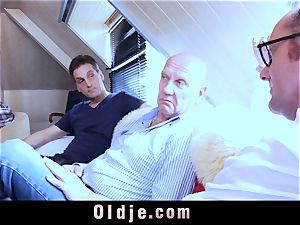 six oldman drilling in gang a mind-blowing sizzling blond