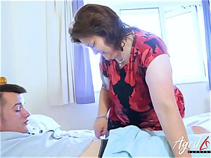 AgedLovE chesty Mature toying stiff with convenient fellow