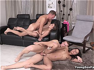 mind-blowing youthfull Russians having 4some