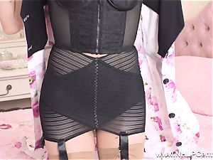 blond finger plows taut coochie in retro girdle nylons