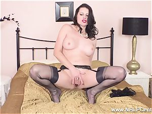 wondrous mummy wanks to climax in sheer nylons garters