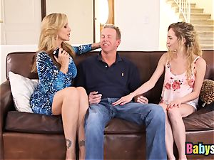tiny Angel Smalls shares humungous wood with Julia Ann