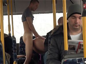 Lindsey Olsen plows her stud on a public bus