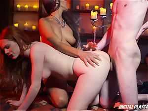 jizz swallowing 3 way with handsome Ella Hughes and fantastic stunner Mea Melone