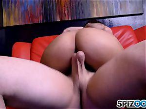 pole dancing Sophia Leone choking on a ginormous pole cock