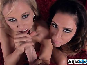 Jessica Jaymes and Julia Ann deep throating pecker