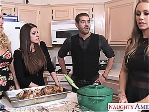 lucky stud gets the gift of super-fucking-hot damsels fellating him off
